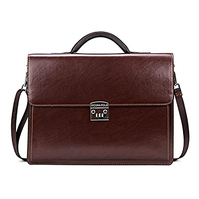 MESIDA Men Classic Leather Briefcase Lock Lawyer Attache Case Messenger Bags Laptop Handbags Shoulder Bags Brown