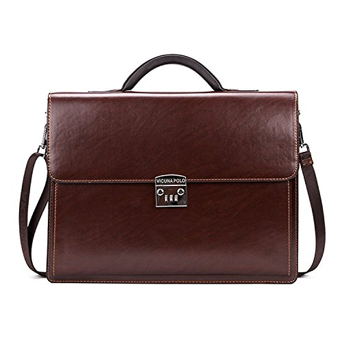 MESIDA Men Classic Leather Briefcase Lawyer Attache Case Messenger Bags Handbags Shoulder Bags with Combination Locks Brown