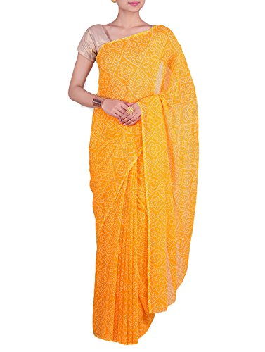 White Bandhej Golden Yellow Color Rajasthani Georgette Fancy Bandhani Saree