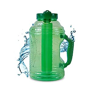 Cool Gear 75 oz EZ Freeze Water Bottle w/ Handle Straw and Ice Pack (Green)