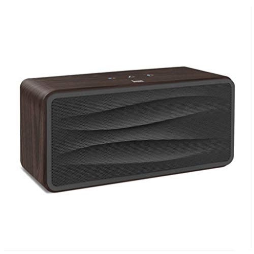 Enhanced Stereo Wireless Bluetooth Speaker with HD Sound and Bass Built-in Microphone (Color : Dark Wood)