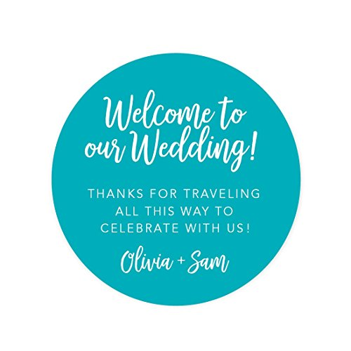 (Andaz Press Personalized Out of Town Bags Round Circle Gift Labels Stickers, Welcome to Our Wedding Thanks for Traveling to Celebrate With Us, Aqua Turquoise, 40-Pack, Custom For Destination OOT )