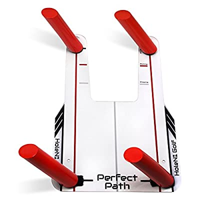 HoleN1 Golf Perfect Path - Includes Pinch Plate and Four Path Poles - Speed Trap Golf Swing Training Aid - Trap the Ball and Improve Swing Path - Train Your Eyeline on Where Your Swing Path Should Be