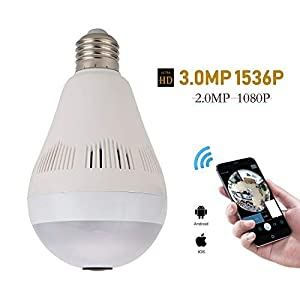 Wireless Hidden Light Bulb Camera, VR 360 Panoramic 1536P WIFI Light Bulb IP Camera Indoor Home Surveillance System with Night Vision and Remote View Motion Detection Support with Android IOS