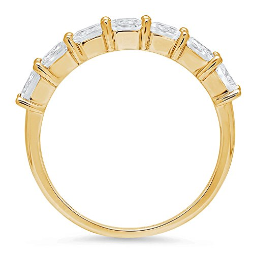 1.65ct Brilliant Princess Cut Promise Engagement Bridal Wedding Infinity Petite Eternity Stacking Band in 14K Solid Yellow Gold for Women, 9 by Clara Pucci (Image #1)