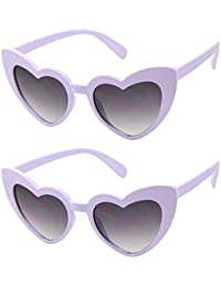 ShadyVEU - Trendy Heart Shaped Love Colorful Baby Girl Toddler Ages 2-6 Yrs. Oversize Kids Sunglasses (2-Pack Purple, Black Lens)