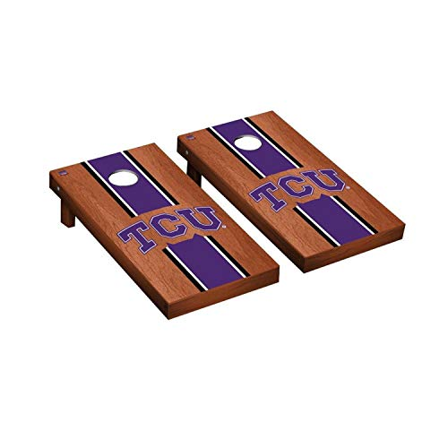 Texas Christian University Horned Frogs - Victory Tailgate Regulation Collegiate NCAA Rosewood Stained Stripe Series Cornhole Board Set - 2 Boards, 8 Bags - Texas Christian University TCU Horned Frogs