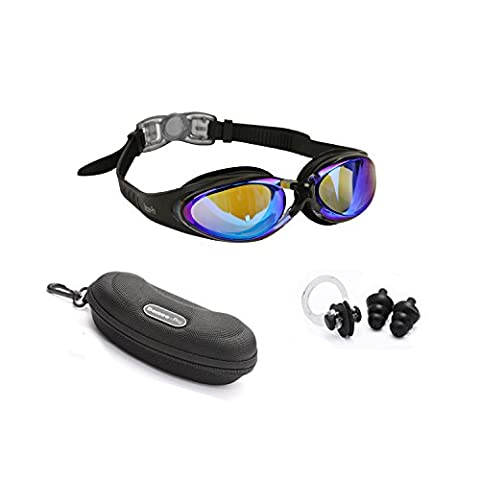 Swimming Goggles Adult Adjustable Non Toxic Silicone Straps - UV Protected Anti-Fog Tinted Color Lens - Fog Resistant Swim Goggle with Zipper Case Ear Plug and Nose