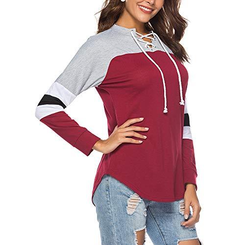 grandi t Rosso tumblr Tops con donna hoodie camicia Donna donna camicetta sweatshirt Felpe shirt beautyjourney cappuccio eleganti tumblr rosa donna Felpa ragazza maniche lunghe vgxqYw1