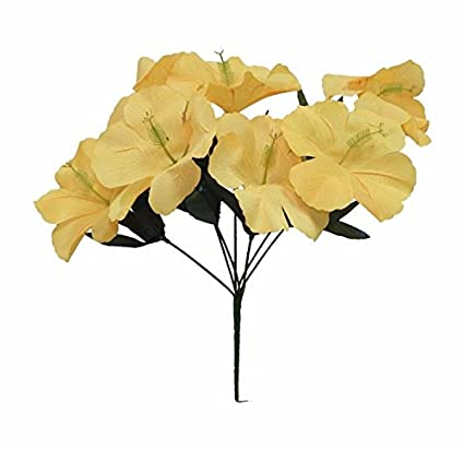 Amazon artificial garden 5 hibiscus yellow silk flower floral artificial garden 5 hibiscus yellow silk flower floral arrangements wedding flowers bridal bouquets centerpieces mightylinksfo