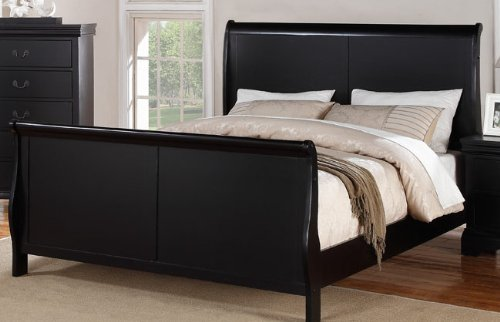 Louis Phillipe Black King Size Bedroom Set Featuring French Style Sleigh Bed and Nightstand, Dresser, Mirror, Chest