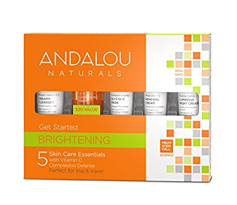 Andalou Naturals Brightening Get Started Kit, 5 Count ( Cleanser, Toner, Mask, Probiotic Cream, Night (Beauty Renew Illuminating)