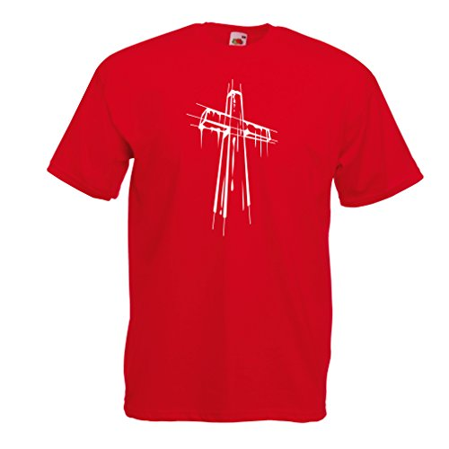 (T Shirts for Men Distressed Holy Cross - Religious Gift Ideas. Christian Religion Apparel, Jesus Resurrection (Medium Red Multi)