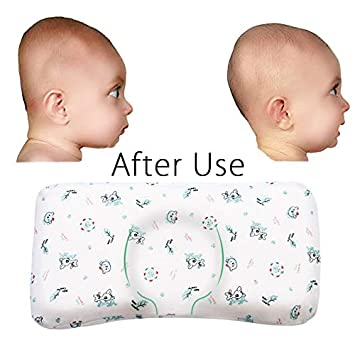 Cheap Sale Flat Head Baby Pillow With 2 White Washable Cotton Covers Safe Baby Head With Bed Pillows