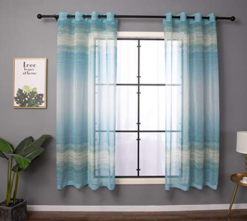 - Taisier Home Faux Linen Print Sheer Curtains Voile Grommet Top Style Ombre Semi Sheer Curtains for Nursery Bedroom Living Room Set of 2 Curtain Panels 52 x 84 inch Sky Blue&Cream Gradient Design