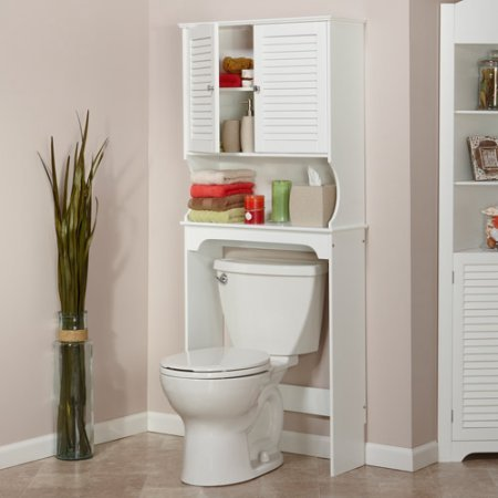 Traditional Spacesaver Over The Toilet, White Open Shelf is Ideal for Storage or Display One Fixed Storage Shelf Inside The Cabinet Painted Wood Durably Constructed