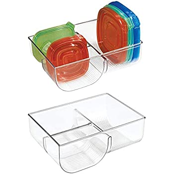 mDesign Food Storage Container Lid Holder, 3-Compartment Plastic Organizer Bin for Organization in Kitchen Cabinets, Cupboards, Pantry Shelves - 2 Pack - Clear