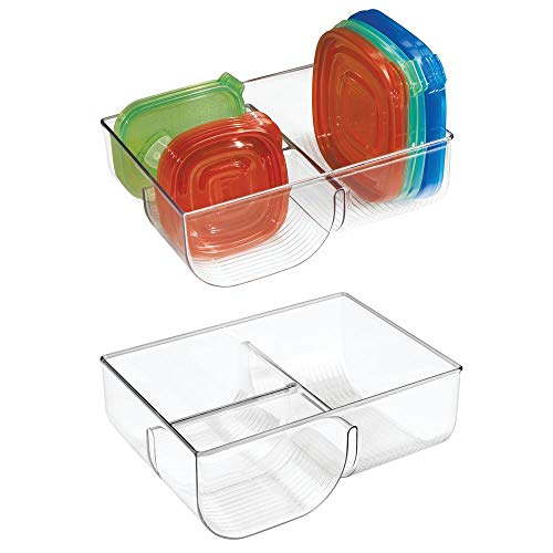 (mDesign Food Storage Container Lid Holder, 3-Compartment Plastic Organizer Bin for Organization in Kitchen Cabinets, Cupboards, Pantry Shelves - 2 Pack - Clear)