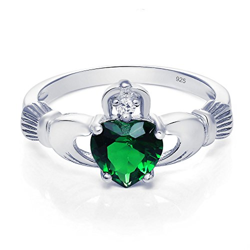 Sterling Silver Claddagh Promise Ring For Her with Simulated Emerald And Cubic Zirconia, 8mm (6)