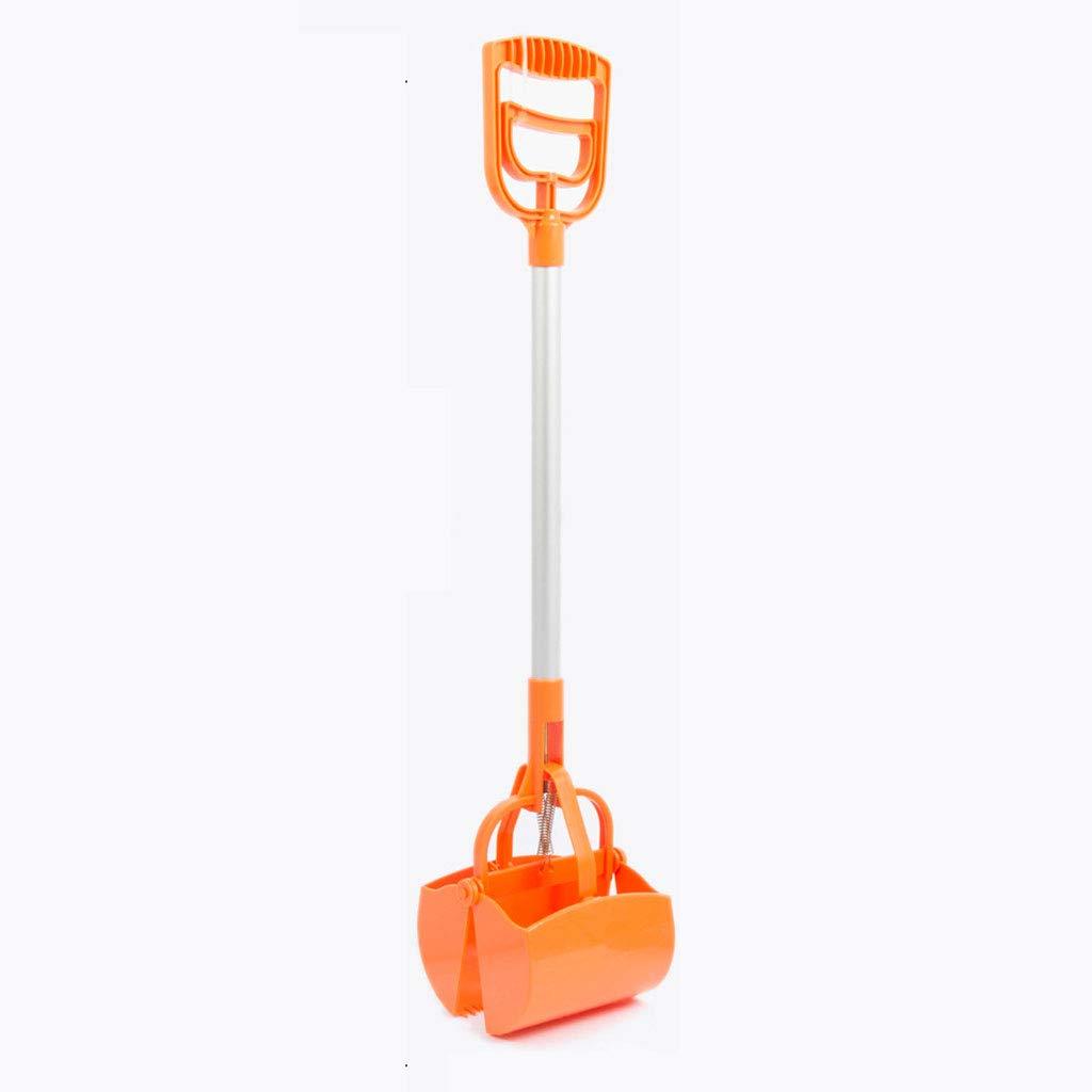 orange Animal Pooper Scooper Pet Waste Sanitary Pickup Poop Scoop Remover Tool with One Long Handle Comfortable Grip. (color   orange)