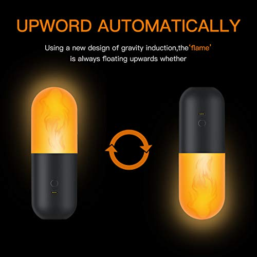 TAOCOCO Rechargeable Kids Night Light Camping Lantern, Flicker Flame led Tent Light Lamp, Flaming Orange for Bedroom Outdoor Indoor, 2 Lighting Modes (USB Powered)