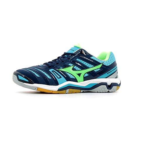 Mizuno Wave Stealth 4, Scarpe da Pallamano Uomo bleu marine/vert gecko/bleu turquoise