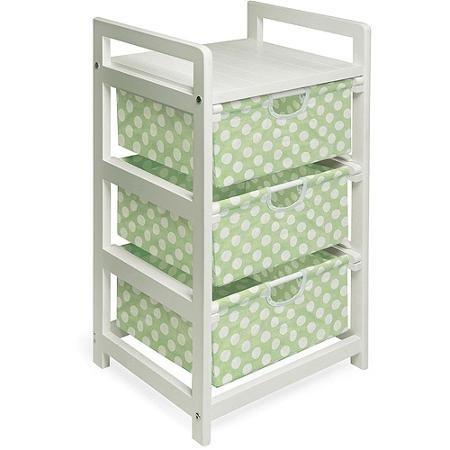 Badger Basket White 3-Drawer Hamper/Storage Unit, Sage Polka