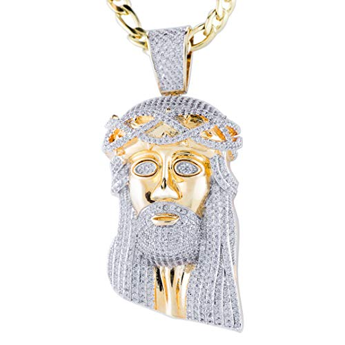NIV'S BLING - 18K Yellow Gold-Plated Cubic Zirconia Jesus Piece with Stainless Steel Figaro Chain 8mm, 20-36 Inches (Jesus Pendants Piece)