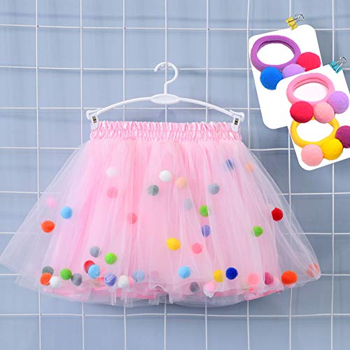 Bingoshine 4 Layers Soft Tulle Puff Ball Girls Tutu Skirts with Silky Lining Colorful Princess Costumes for Dressing Up. (Pink, XL,7-8Years) -