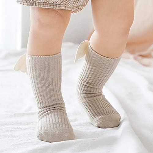 ACHICOO ベビーソックス 可愛い 漫画 翼 靴下 滑り止め 綿 中ストッキング 0-5歳 新生児 赤ちゃん カーキ Lコード3-5歳