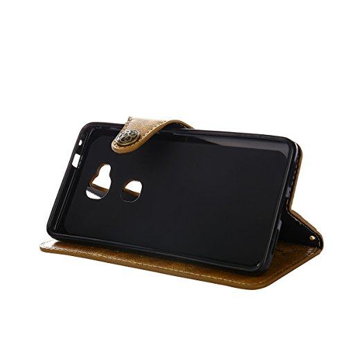 MEIRISHUN Leather Wallet Case Cover Carcasa Funda con Ranura de Tarjeta Cierre Magnético y función de soporte para Huawei Honor 5X/ X5/ GR5 - Verde Caqui