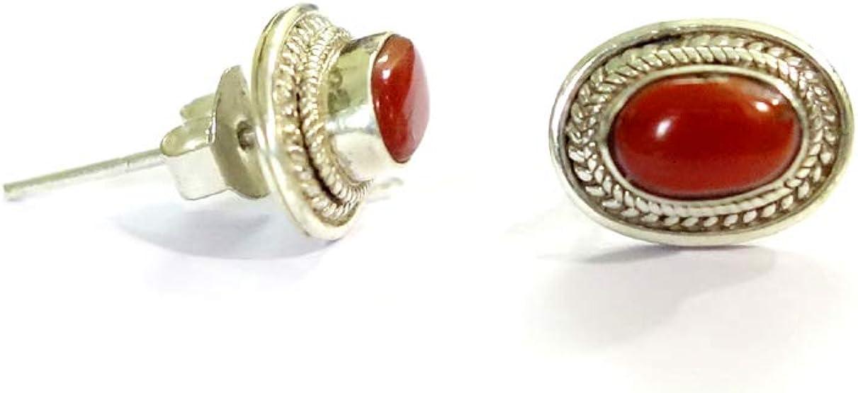 Hecho a mano 925 de plata esterlina Stud genuino italiano Coral rojo Stud Stud auténtica para mujeres niñas Unisex Stud pendientes étnico Boho Stud pendientes