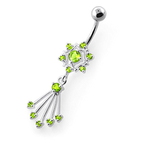 Green Peridot Belly Button Ring - 1