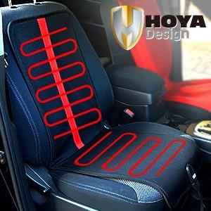 HOYA Korea Car Warmer Heated Seat Cushion Pad Cover for Winter Camping Outdoor / Cigar Jack Socket Mounts Temperature Controller / Automotive Jeep Truck SUV RV / Luxury Mesh Slim Seat Heat DC 12V / Universal