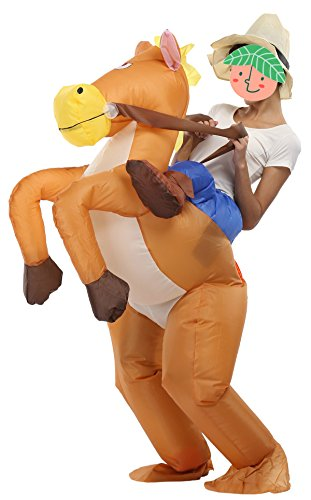 Inflatable Bull Rider Halloween Costume (SASALO Adult Kids Inflatable Costume Funny Animal Riding Halloween Blow up Suit)