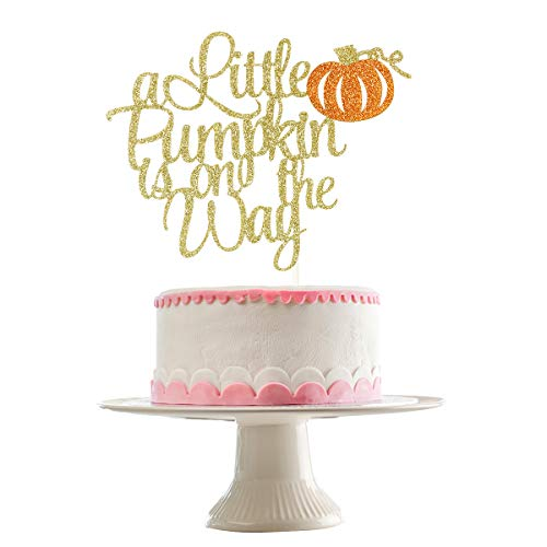 Gold Glittery A Little Pumpkin Is On The Way Cake Topper for Thanksgiving Holiday Party Decor,Fall Baby Shower Party Decor,Cake Decor