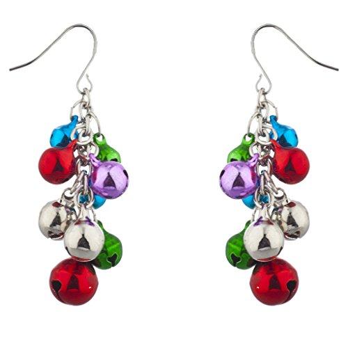 Lux Accessories Silver Tone Christmas X-Mas Jingle Bells Chandelier Earrings