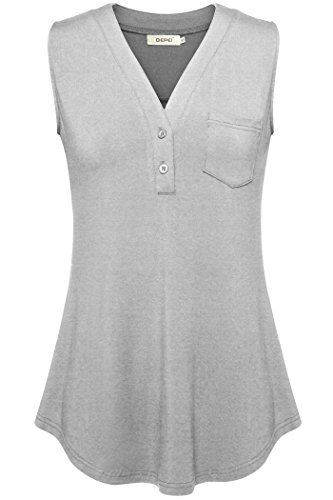 BEPEI Office Tops For Women, Shirts With Pockets Sleeveless Tanks Loose Fit Gray (Sleeveless Knit Shirt)