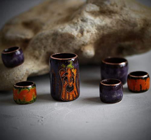 Halloween Pumpkin Dread Beads Set/Large Hole/Purple Glass Dreadlock Beads/Braid Beads Set/Copper Enamel ()