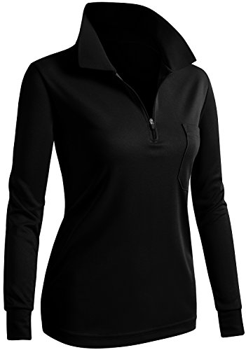CLOVERY Coolmax Fabric Moisture Wicking Long Sleeve Zipup POLO Shirt BLACK US XL/Tag XL - Fleece Long Sleeve Polo Shirt