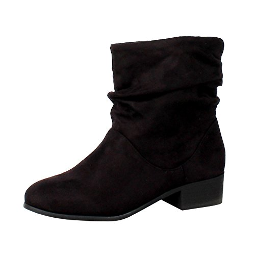 Soda FD58 Women's Slouchy Pull On Low Block Heel Ankle Booties, Color:BLACK, Size:7 (Soda Black Suede Boots compare prices)
