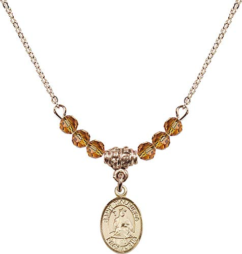 Bonyak Jewelry 18 Inch Hamilton Gold Plated Necklace w/ 4mm Yellow November Birth Month Stone Beads and Saint Walburga ()