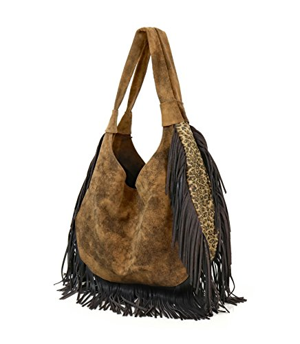 Leopard Antonio Bag 344ST Hobo Fringe Adobe Juan with Brown AFwxfHHq