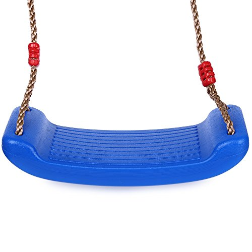 Plastic Hard Swing Seat - TiTa-Dong Swing Seat with Rope Flat Play Set Hard Seat Indoor/Outdoor Playground Jungle Gym Roped Backyard Swing Set Accessories Replacement for Kids Children Youth Ages 3 to 7 by, Blue