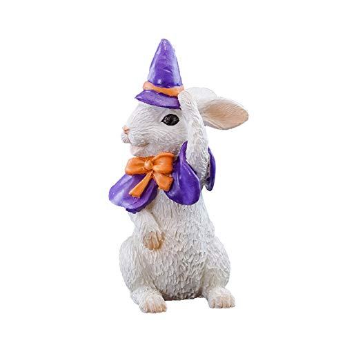 ShopForAllYou Figurines and Statues Halloween Fairy Garden Miniature - Halloween Bunny in Witch Costume - Dollhouse ()