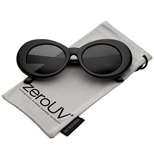 zeroUV - Bold Retro Oval Mod Thick Frame Sunglasses Clout Goggles with Round Lens 51mm (Black/Smoke) (Round Sunglasses Goggles)