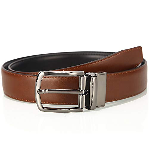 HANXIAODONG Reversible Leather Belt for Wearing with Jeans Or Casual Trousers with Removable Rotating Buckle (Size : 125) -