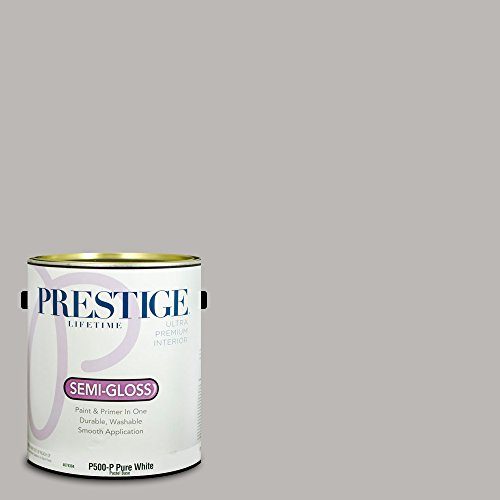 Prestige Paints P500-P-SW6002 Interior Paint and Primer in One, 1-Gallon, Semi-Gloss, Comparable Match of Sherwin Williams Essential Gray, 1 Gallon, - Interior Gloss