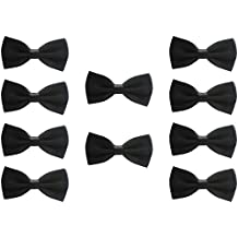UDRES Men Formal Tuxedo 10 Pack Solid Color Satin Bow Tie Classic Pre-Tied Bowtie