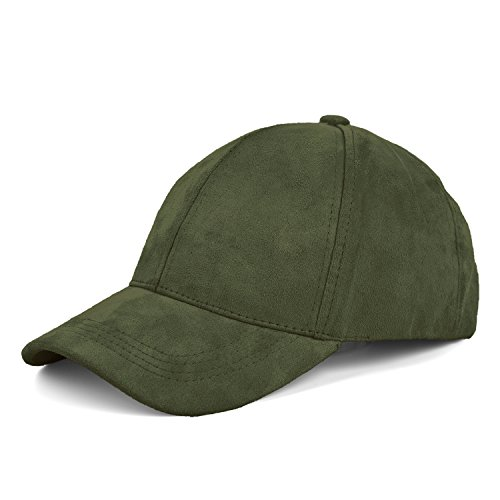 JOOWEN 6 Panel Faux Suede Baseball Cap Classic Adjustable Soft Plain Hat (Army - Cap Army Green